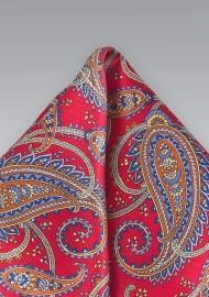 Elegant Silk Paisley Pocket Square