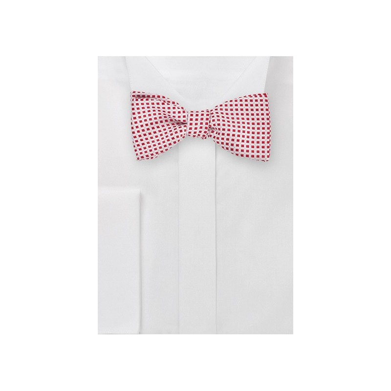 Box Patterned Self Tie Bow Tie in Red and White