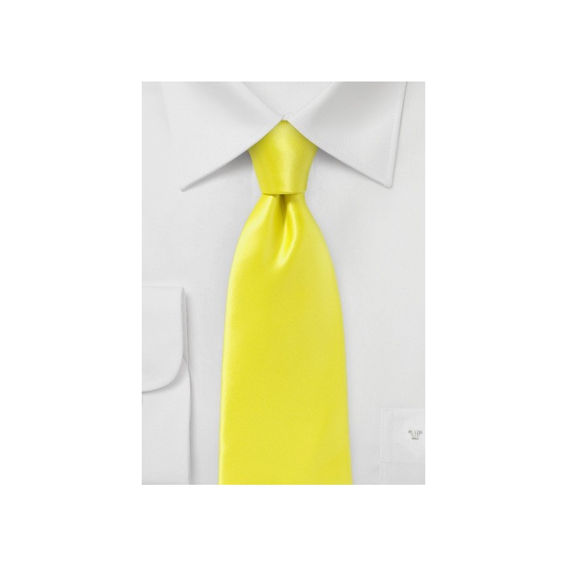 Bright Lemon Necktie in Pure Silk