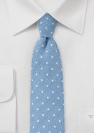 Skinny Polka Dot Tie in Light Blue