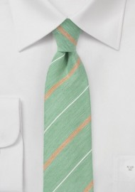 Vintage Striped Skinny Tie in Green
