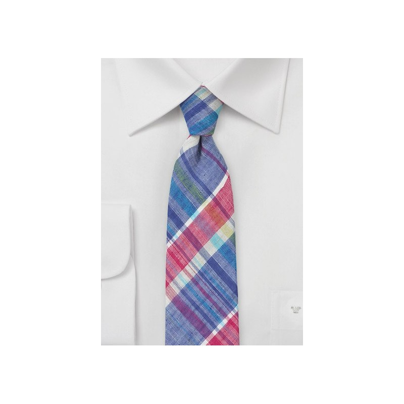 Linen Madras Skinny Tie
