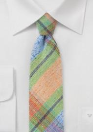 Orange, Green, and Blue Madras Plaid Necktie