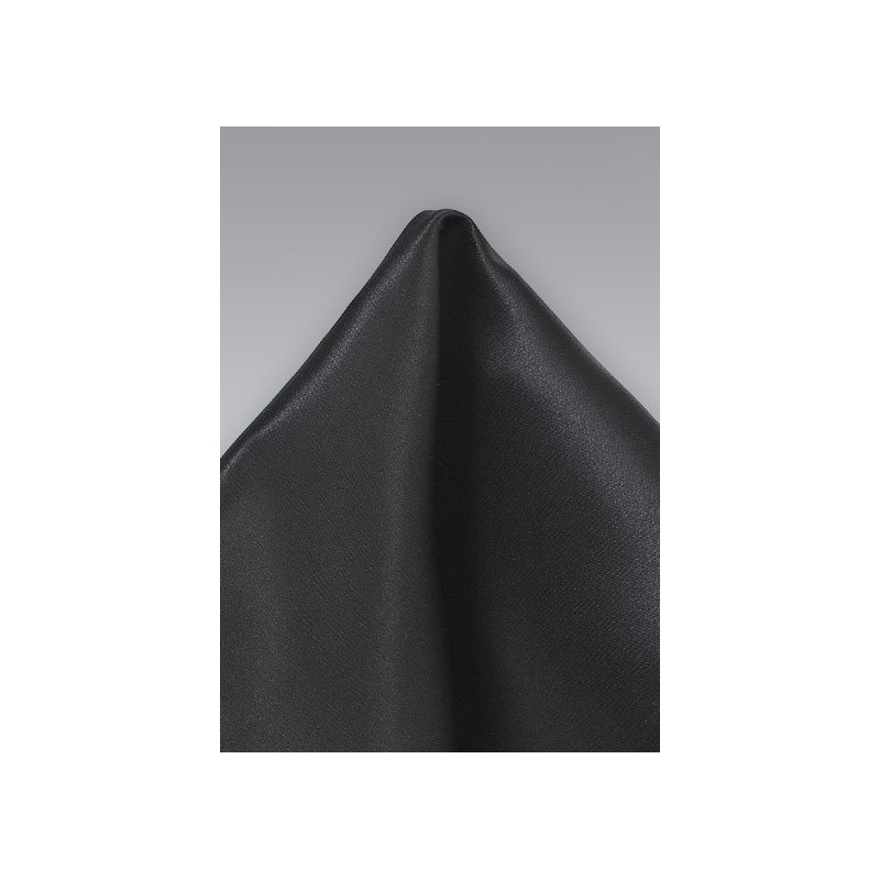 Solid Black Pocket Square in Pure Silk