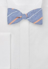 Vintage Blue Striped Bow Tie