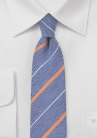 Striped Skinny Tie in Vintage Blues and Oranges