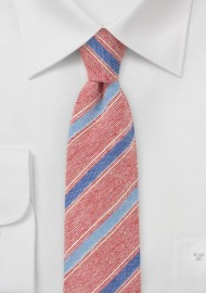 Striped Skinny Tie in Reds and Blues