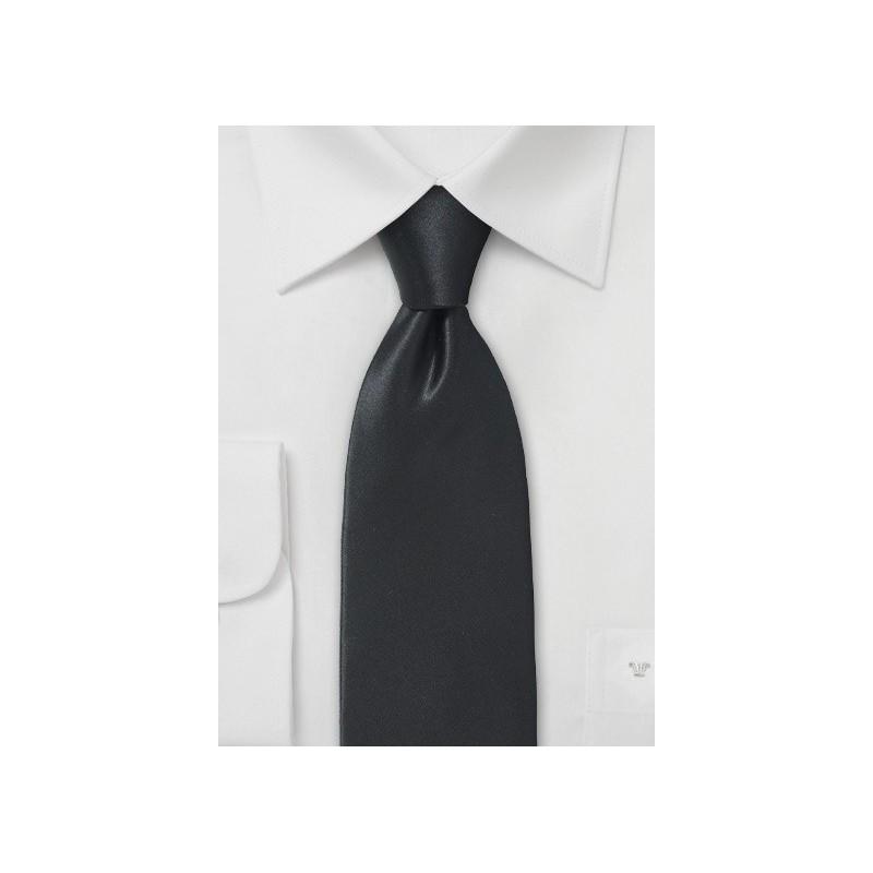 Narrow Width Necktie in Jet Black Silk