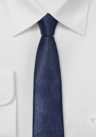 Skinny Navy Blue Necktie with Leather Look
