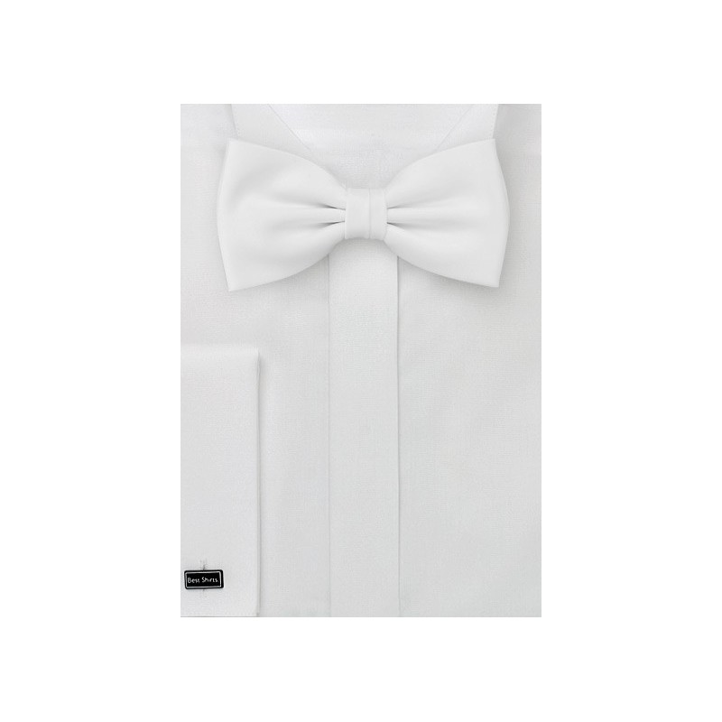 Formal Solid Bright White Bow Tie