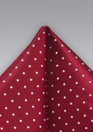 Polka Dot Pocket Square in Cherry Red