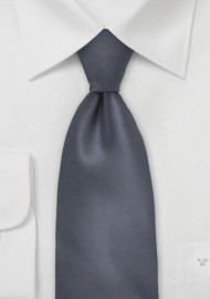Solid Charcoal Grey XXL Length Tie