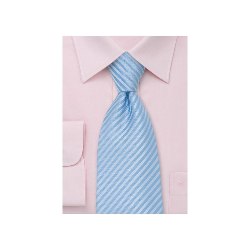 Light Powder Blue Striped Necktie