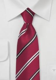Ruby Red Repp Striped Silk Tie