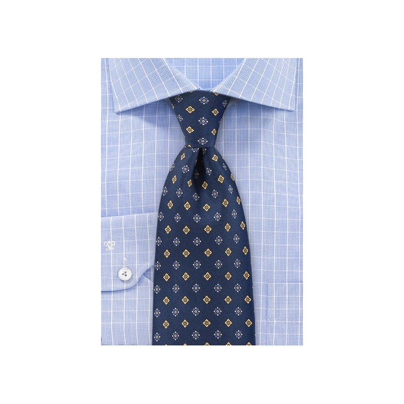Navy Silk Tie with Blue and Yellow Flowers