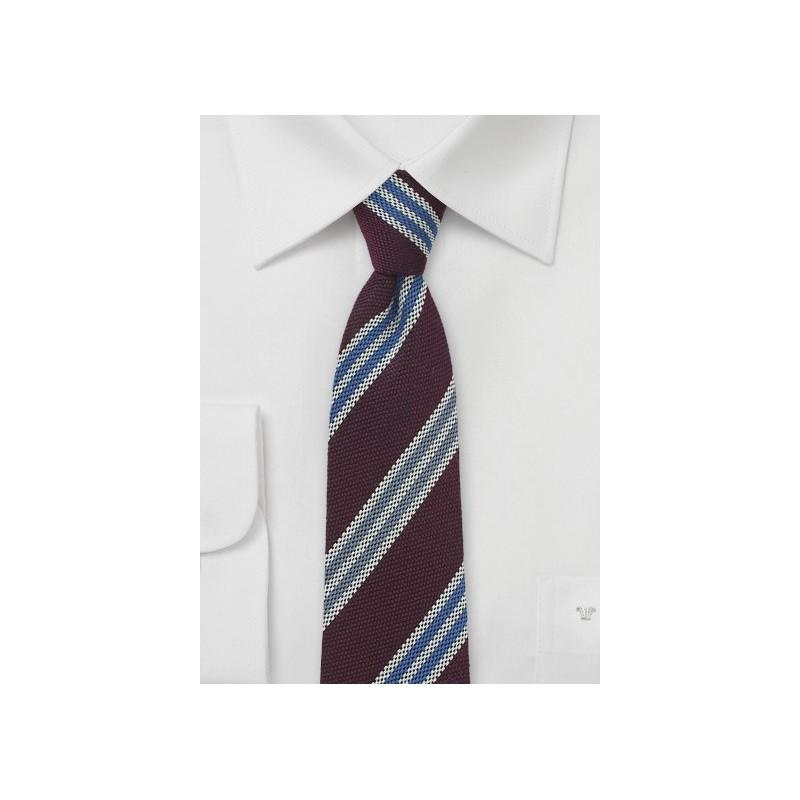 Burgundy Wool Tie with Blue Stripes