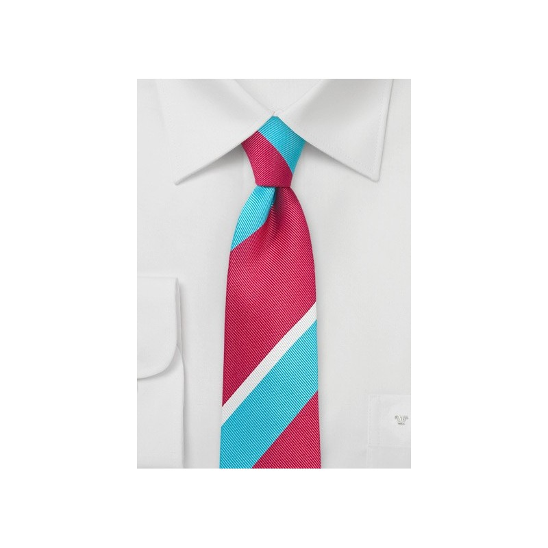 Trendy Narrow Tie in Aqua and Pink