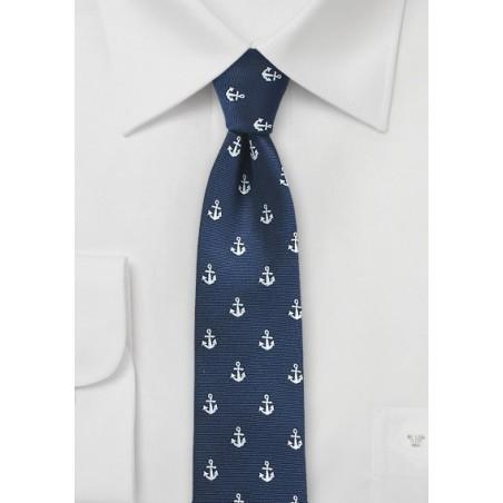 Nautical Theme Skinny Tie in Navy