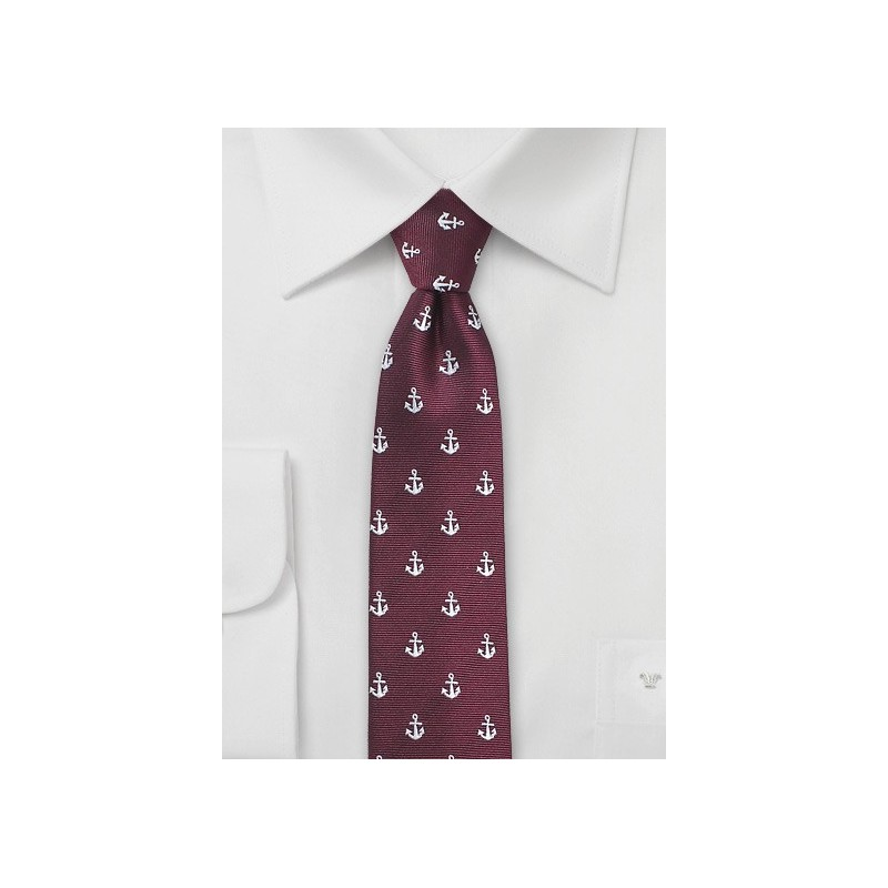 Nautical Theme Tie in Burgundy
