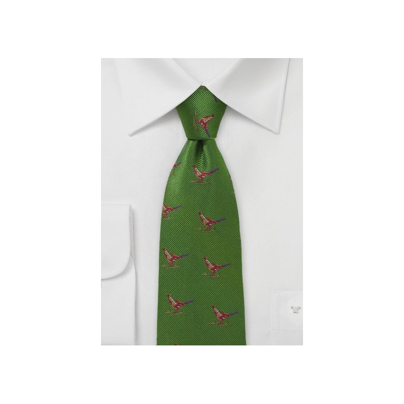Green Silk Tie with Pheasants