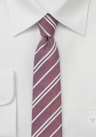 Skinny Striped Tie in Washed Red
