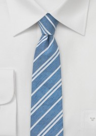 Light Blue Linen Necktie with Stripes