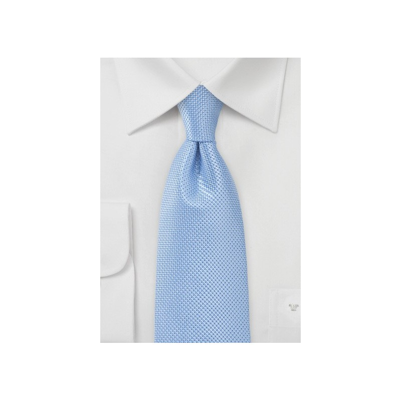 Solid Light Blue Tie with Textured Weave in XL Length