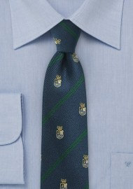 Green Striped Skinny Regimental Tie