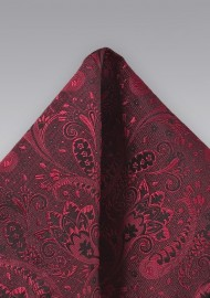 Paisley and Floral Pocket Square in Cherry Red