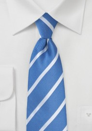 Repp Striped Kids Size Tie in Blue and Silver