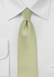 Light Sage Green Tie with Silver Pin Dot Pattern