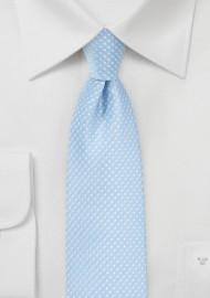 Narrow Pin Dot Tie in Baby Blue