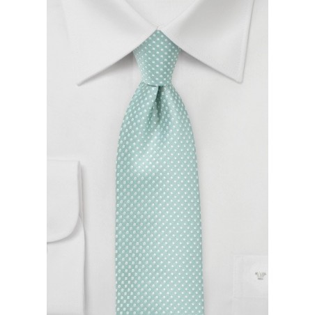 Mint Colored Tie with Silver Pin Dots