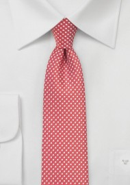 Coral Red Pin Dot Tie in Narrow Width