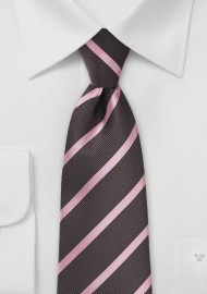 Espresso and Pink Striped Tie in XL