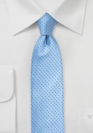 Sky Blue Skinny Tie with Navy Dots