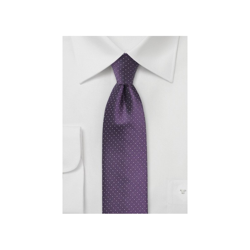 Skinny Pin Dot Tie in Grape Purple
