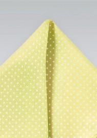 Vanilla Yellow and White Pocket Square
