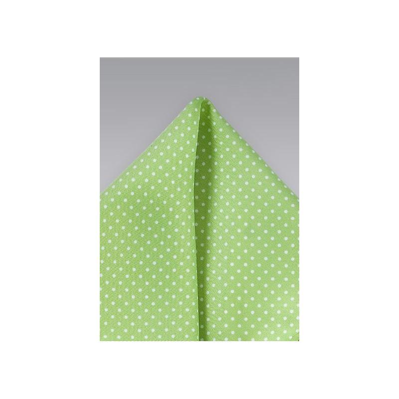 Light Lime Green Pin Dot Pocket Square