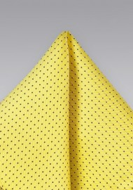 Yellow and Navy Pin Dot Pocket Square