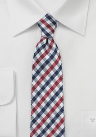 Multicolored Gingham Necktie in Red, Navy & White