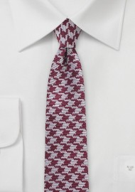 Skinny Houndstooth Silk Tie in Burgundy and Silver
