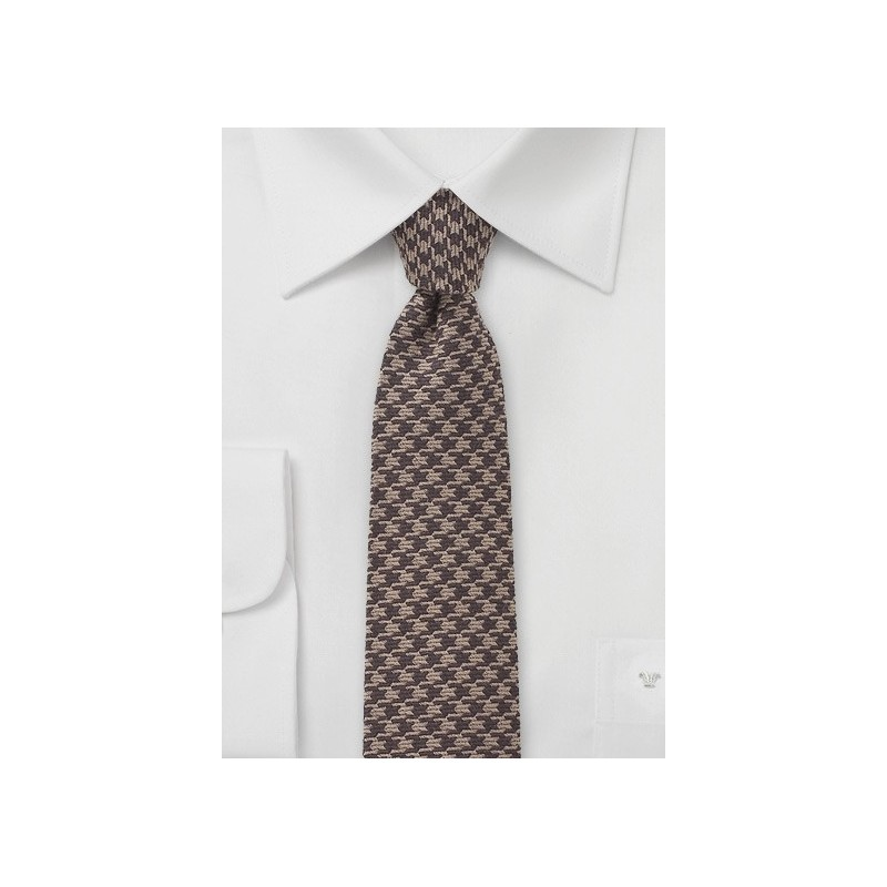 Brown Dogstooth Necktie in Wool