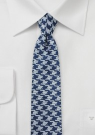 Skinny Designer Tie in Navy and Silver