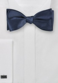 Navy Blue Silk Bow Tie (self tie)