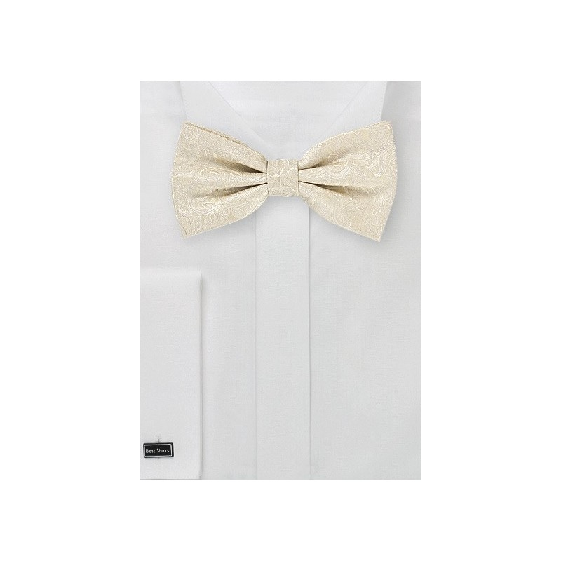 Cream and Ivory Paisley Bow Tie