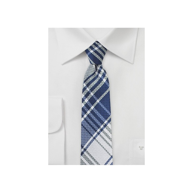 Dark Blue Plaid Skinny Tie