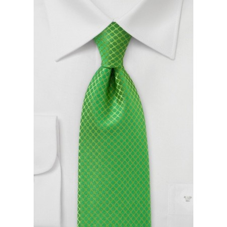 XL Length Art Deco Tie in Bright Kelly Green