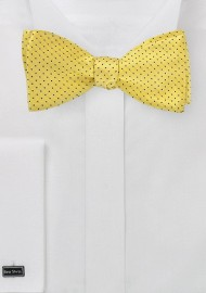 Bright Yellow Bow Tie with Navy Pin Dots