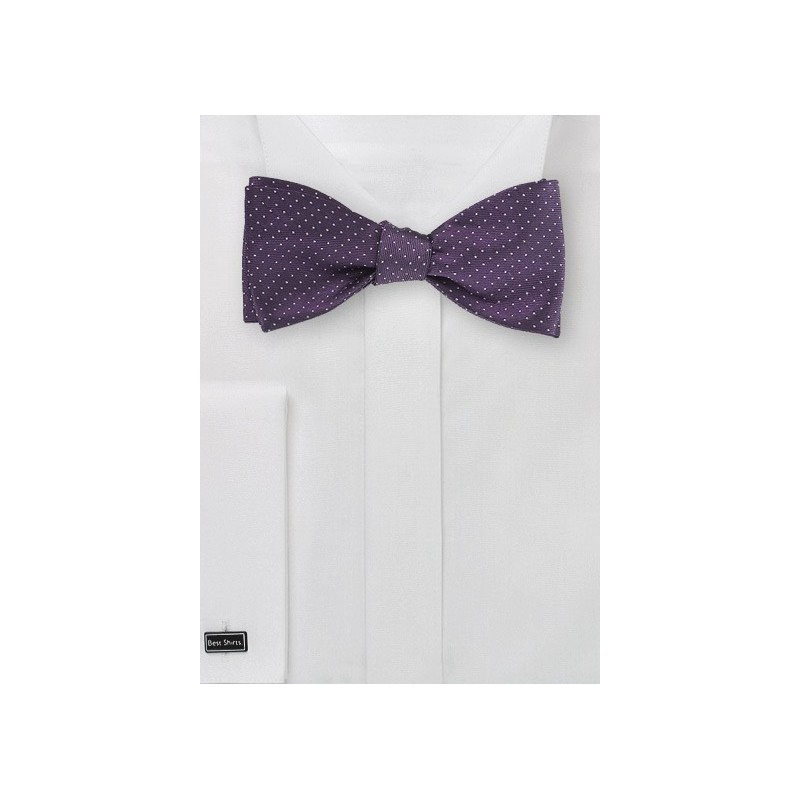 Grape and Silver Pin Dot Bow Tie